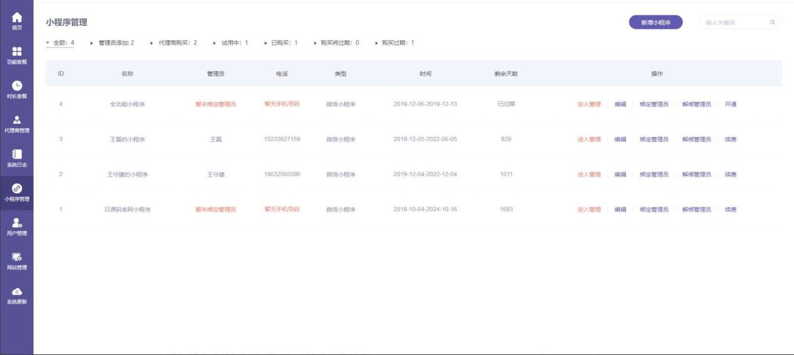 全行业小程序运营管理平台系统ThinkPHP内核网站源码下载 自由DIY布局 一键快捷生成小程序内附安装说明